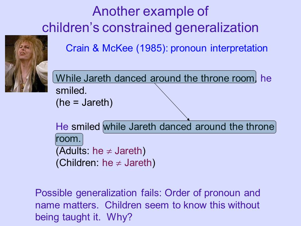 Another example of children's constrained generalization While Jareth danced around the throne room, he smiled. (he = Jareth) He smiled while Jareth d