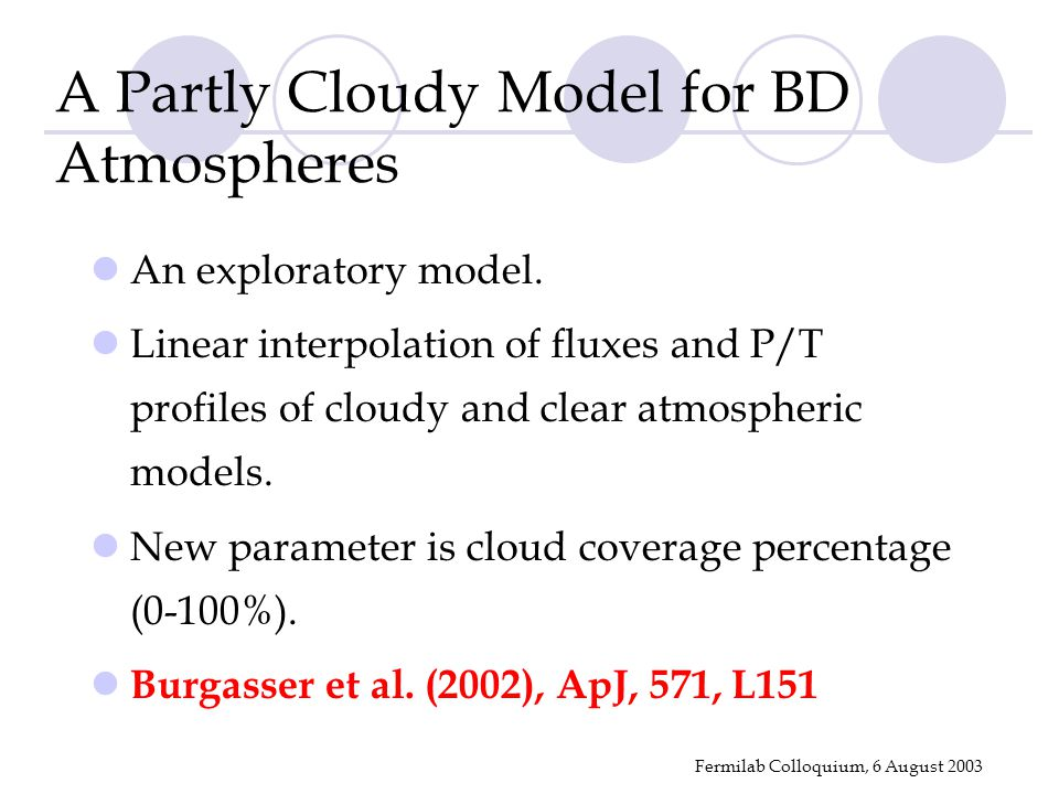 Fermilab Colloquium, 6 August 2003 A Partly Cloudy Model for BD Atmospheres An exploratory model. Linear interpolation of fluxes and P/T profiles of c