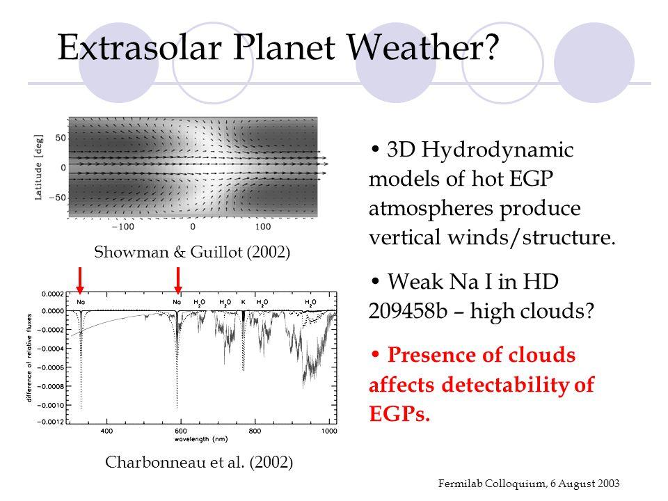 Fermilab Colloquium, 6 August 2003 Showman & Guillot (2002) Extrasolar Planet Weather.