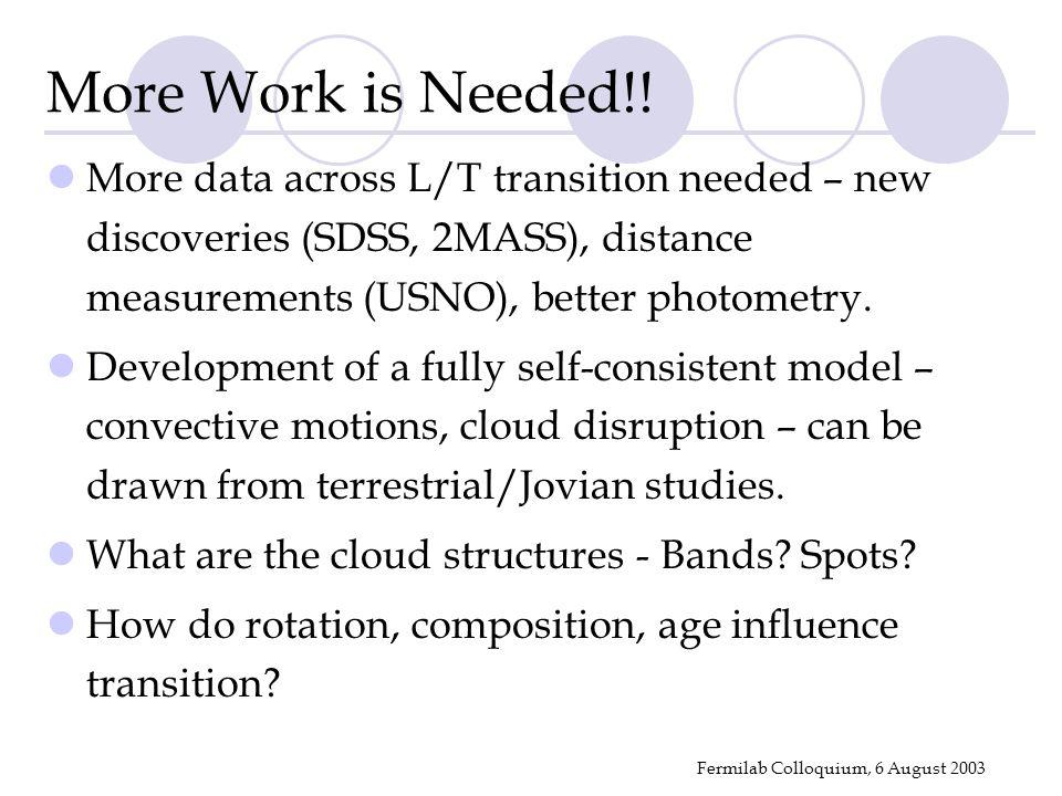 Fermilab Colloquium, 6 August 2003 More Work is Needed!.