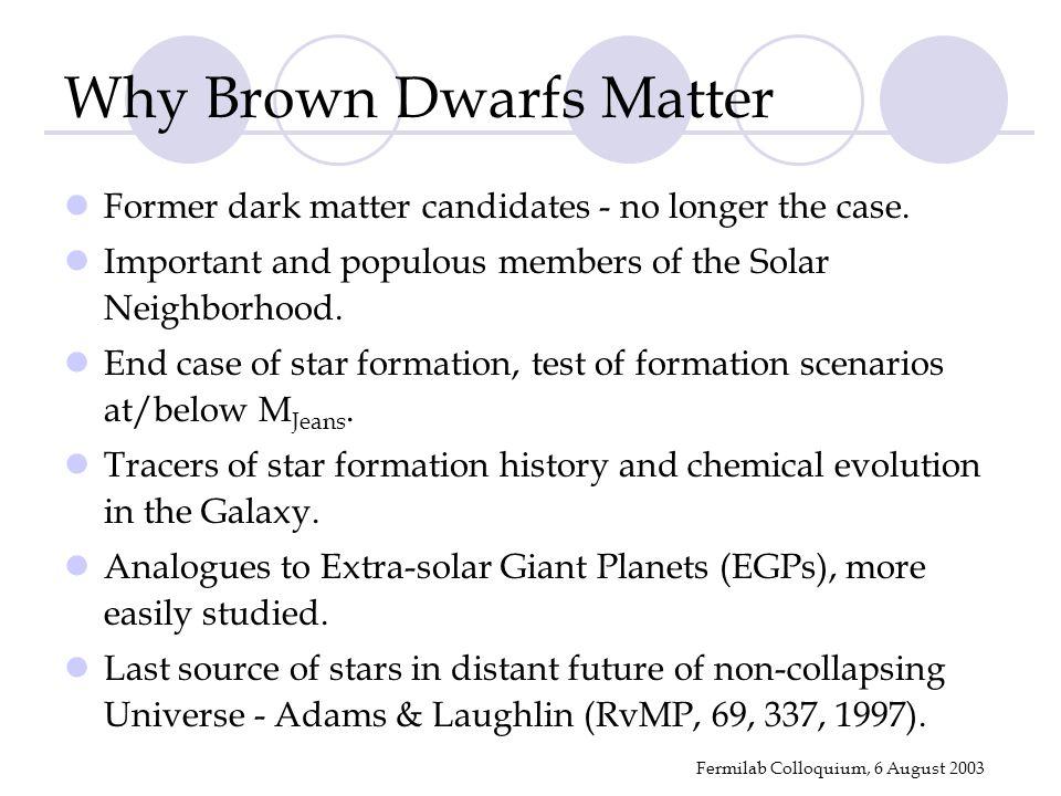 Fermilab Colloquium, 6 August 2003 Why Brown Dwarfs Matter Former dark matter candidates - no longer the case.
