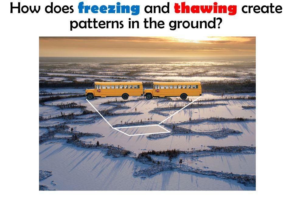 How does freezing and thawing create patterns in the ground