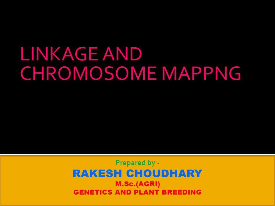 LINKAGE AND CHROMOSOME MAPPNG Prepared by - RAKESH CHOUDHARY M.Sc.(AGRI) GENETICS AND PLANT BREEDING