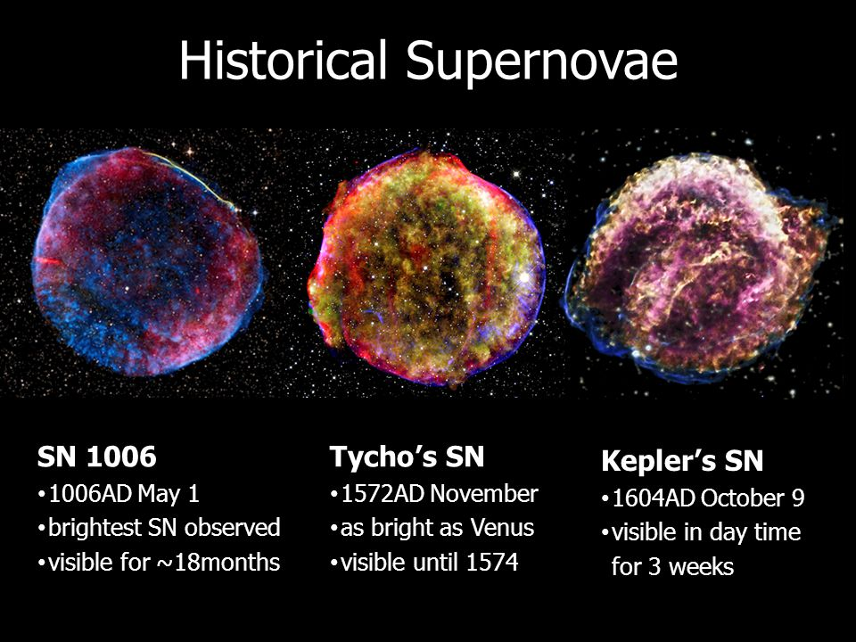 Historical Supernovae Tycho's SN 1572AD November as bright as Venus visible until 1574 SN 1006 1006AD May 1 brightest SN observed visible for ~18month