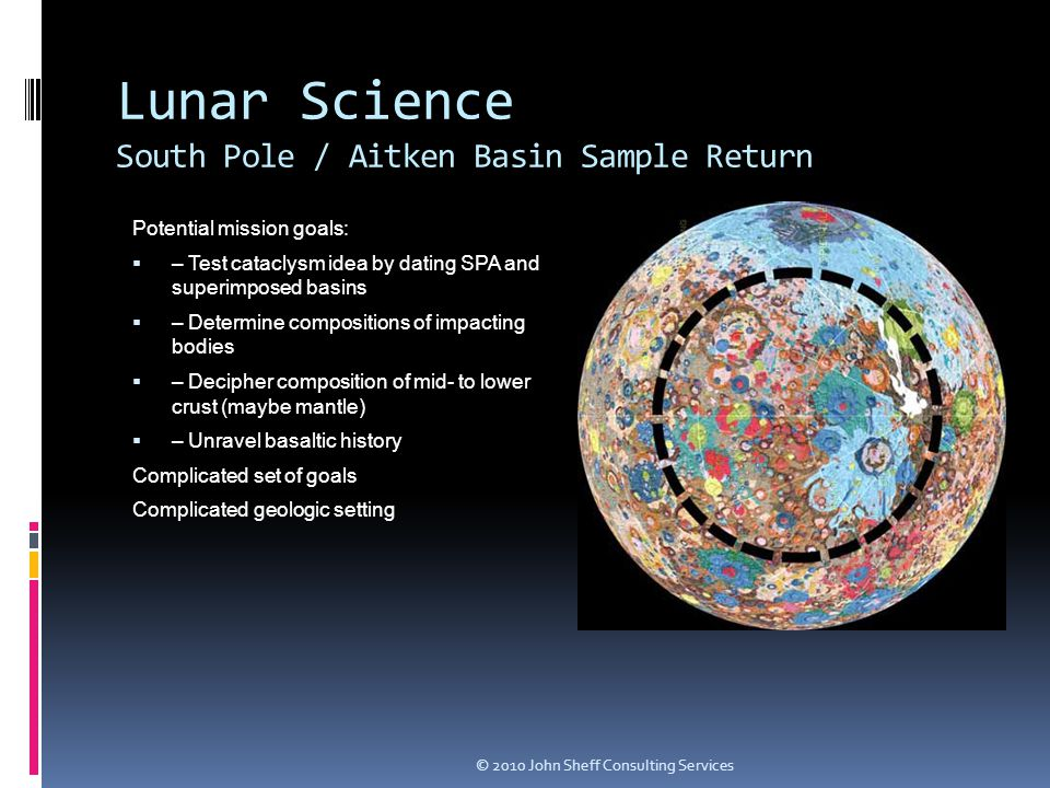 Lunar Science South Pole / Aitken Basin Sample Return Potential mission goals:  – Test cataclysm idea by dating SPA and superimposed basins  – Determine compositions of impacting bodies  – Decipher composition of mid- to lower crust (maybe mantle)  – Unravel basaltic history Complicated set of goals Complicated geologic setting © 2010 John Sheff Consulting Services