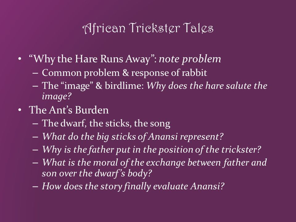 African-American Trickster Tales: Why They Name the Stories for Anansi What trait does Anansi need.