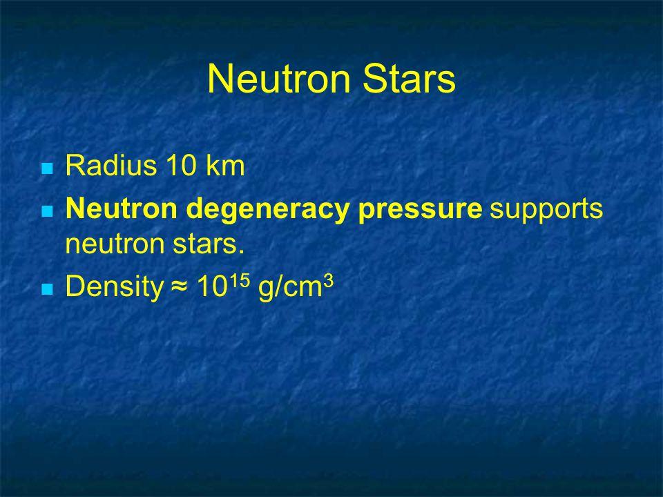 Neutron Stars Radius 10 km Neutron degeneracy pressure supports neutron stars.