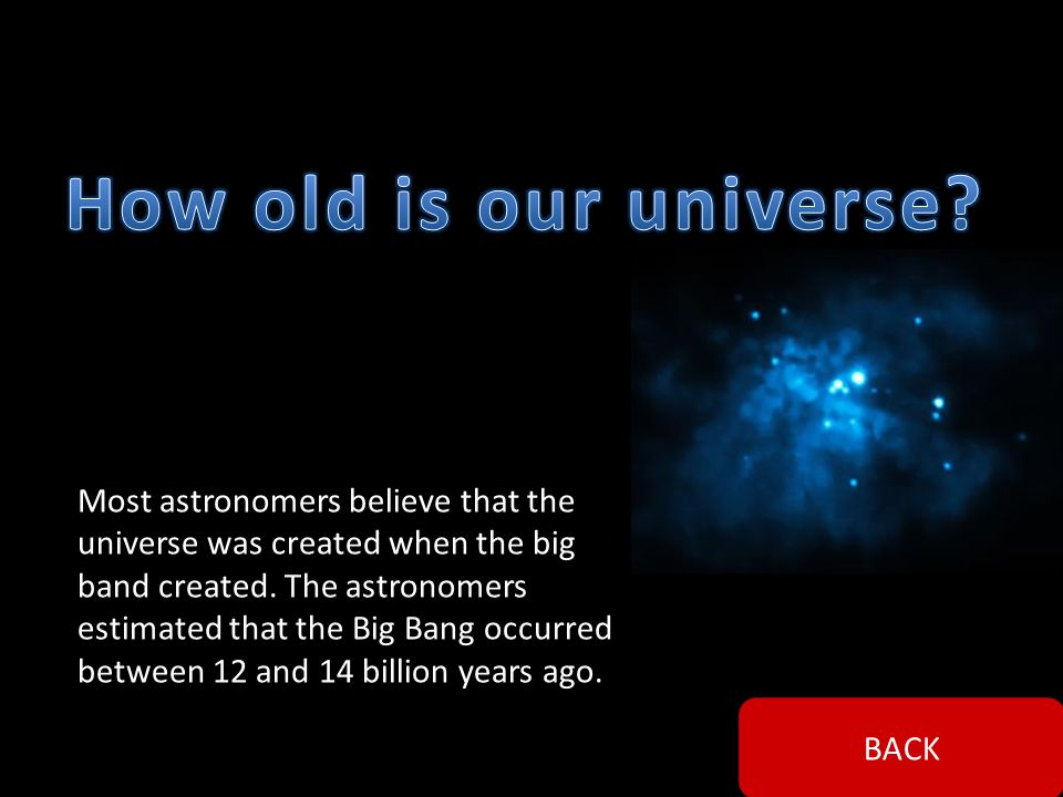 Most astronomer s believe that our universe was created by a theory called a Big Bang. BACK