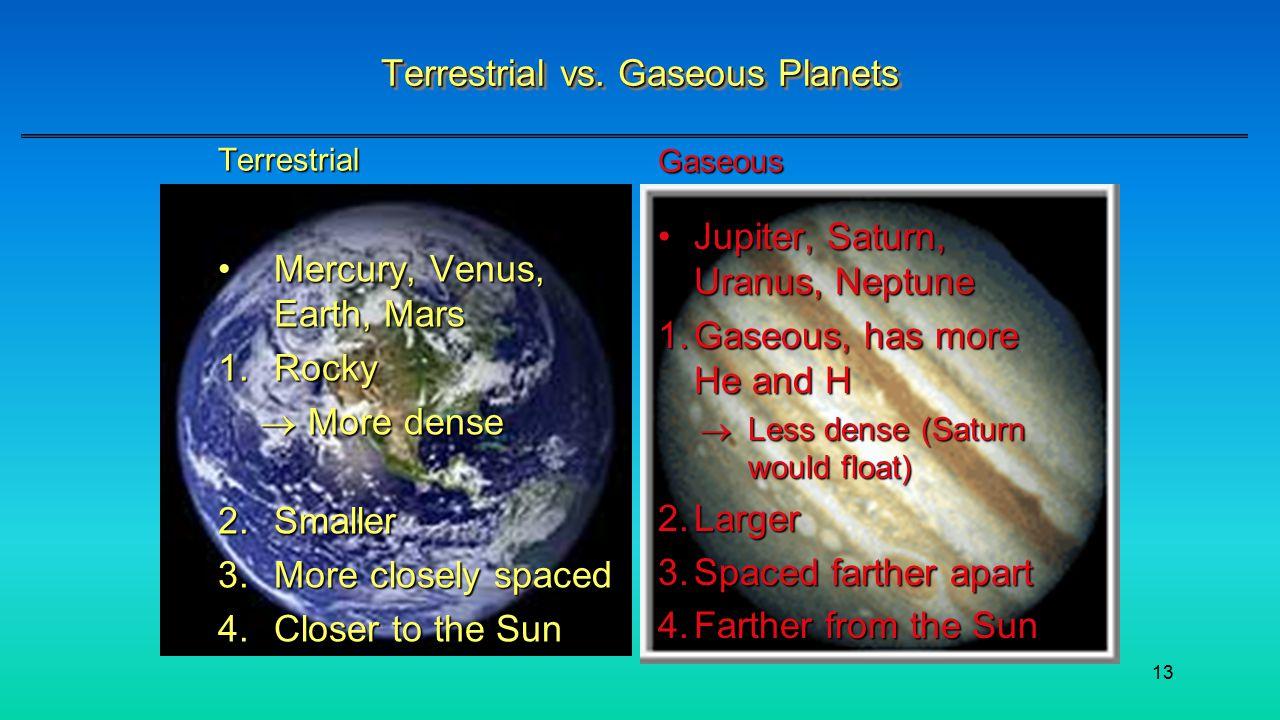 13 Terrestrial vs.