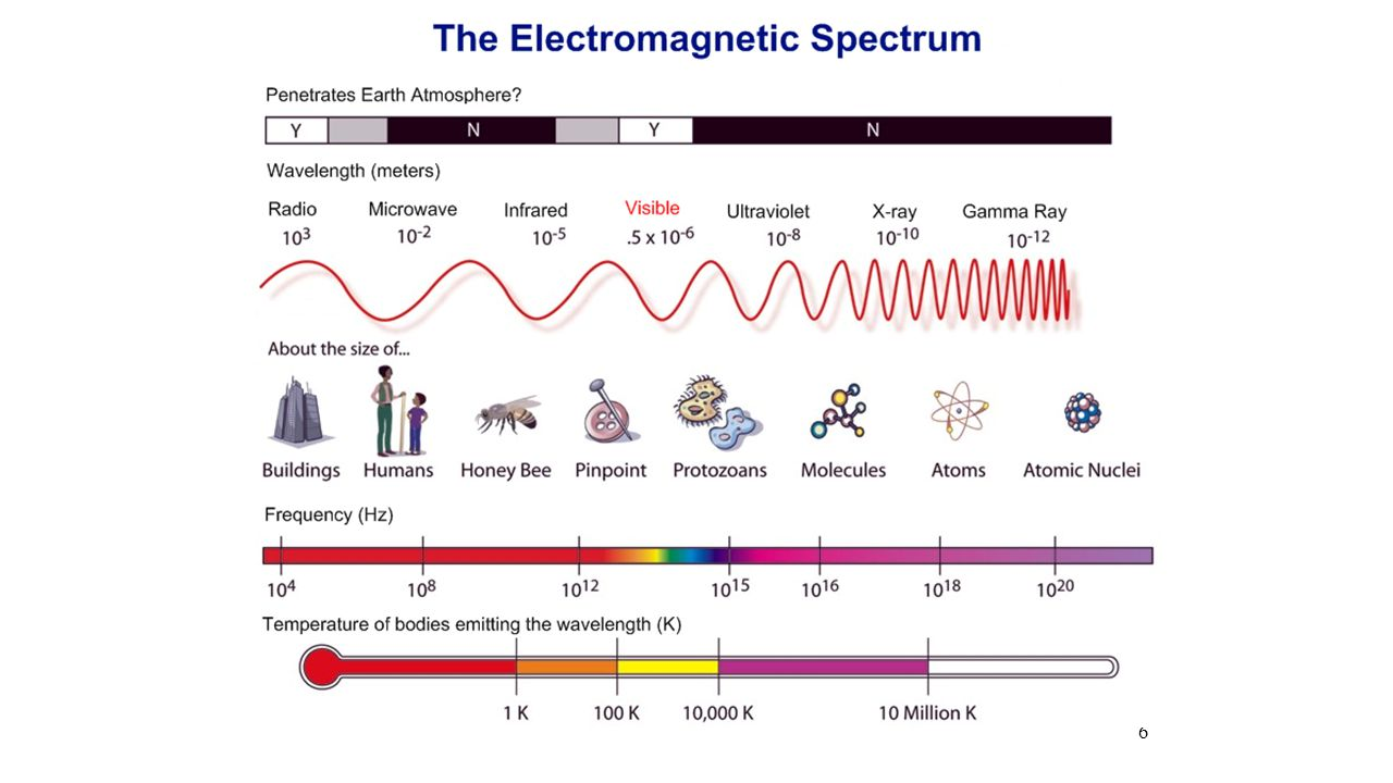The Electromagnetic Spectrum WAVELENGTH: Distance from the top of one wave to the top of the next wave oEach form of radiation has a different wavelength o What does a radiation's wavelength tell us.
