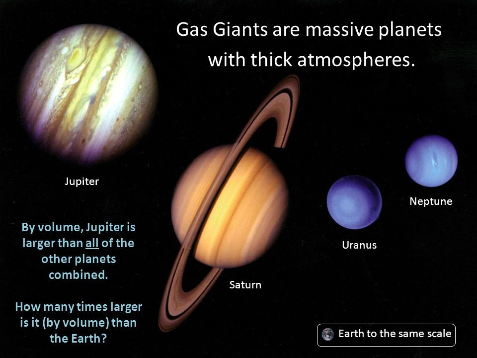 Gas Giants are massive planets with thick atmospheres. Jupiter Saturn Uranus Neptune By volume, Jupiter is larger than all of the other planets combin