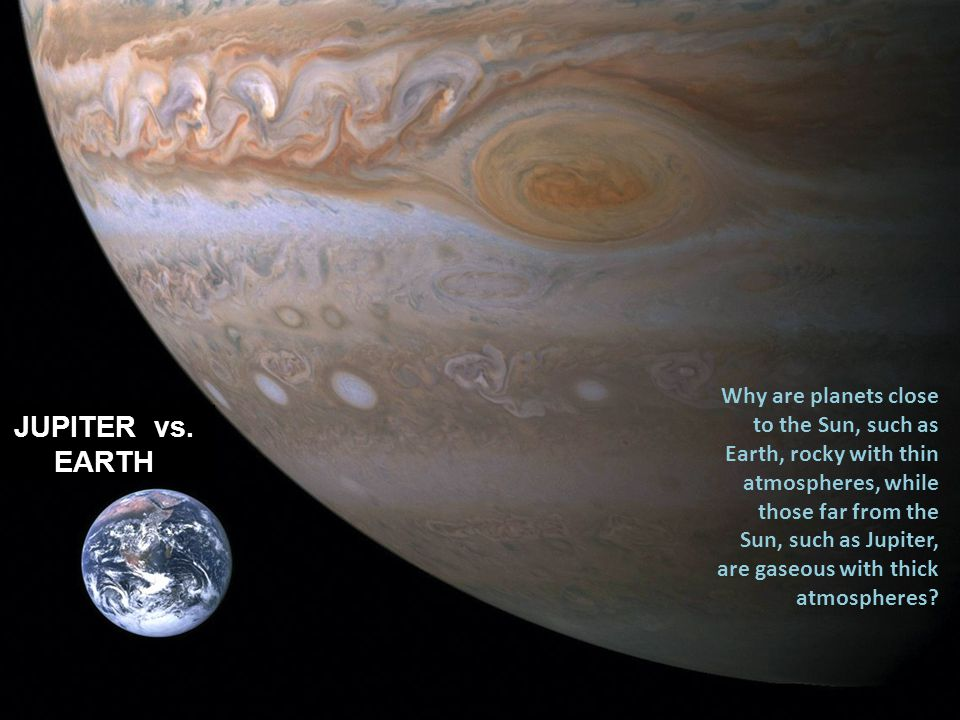 Why are planets close to the Sun, such as Earth, rocky with thin atmospheres, while those far from the Sun, such as Jupiter, are gaseous with thick at