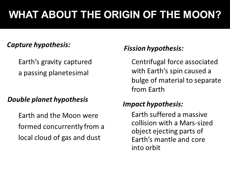 WHAT ABOUT THE ORIGIN OF THE MOON? Capture hypothesis: Earth's gravity captured a passing planetesimal Double planet hypothesis Earth and the Moon wer