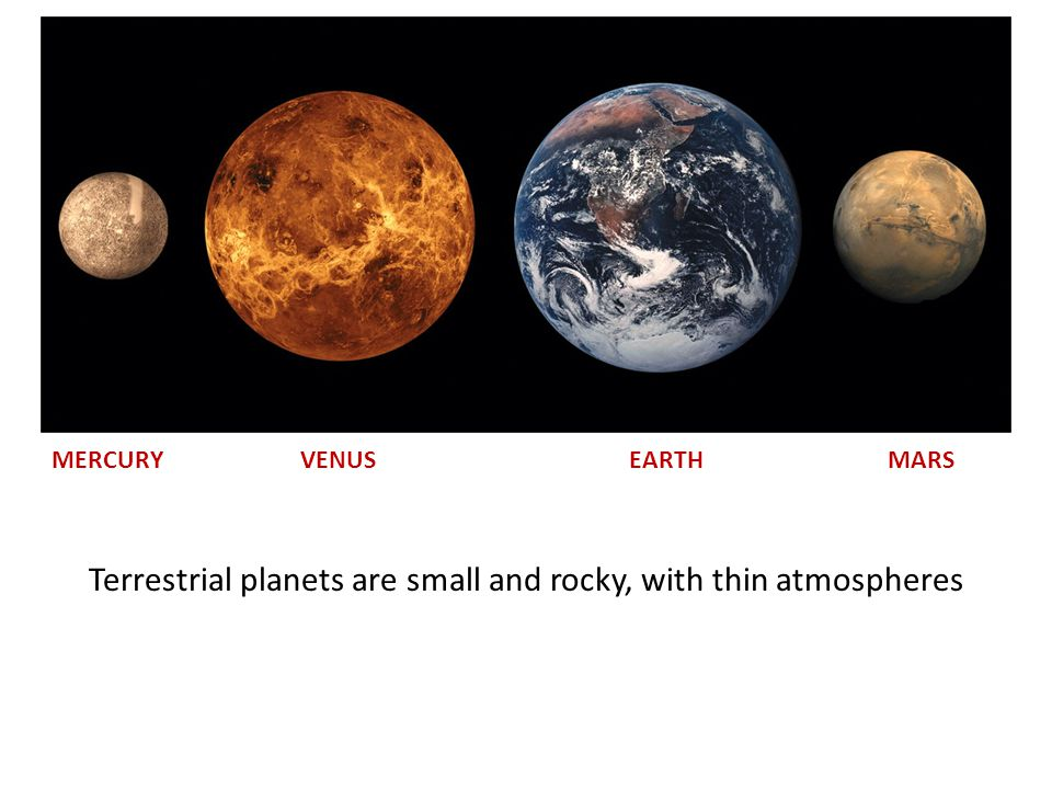 Terrestrial planets are small and rocky, with thin atmospheres MERCURY VENUS EARTH MARS