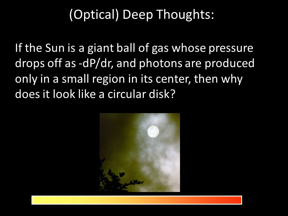 (Optical) Deep Thoughts: If the Sun is a giant ball of gas whose pressure drops off as -dP/dr, and photons are produced only in a small region in its