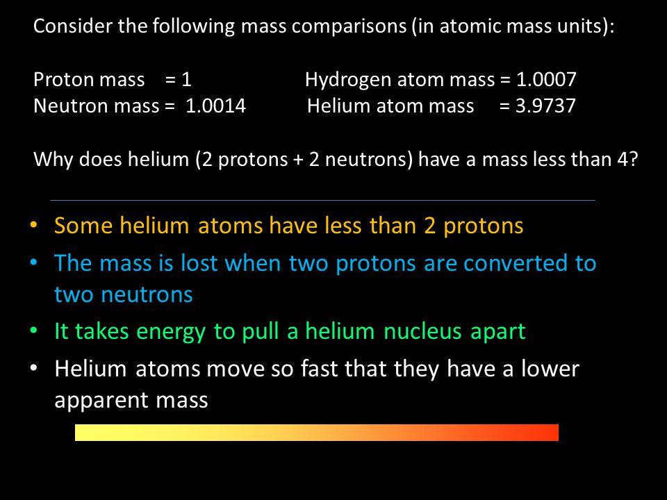 Consider the following mass comparisons (in atomic mass units): Proton mass = 1 Hydrogen atom mass = 1.0007 Neutron mass = 1.0014 Helium atom mass = 3