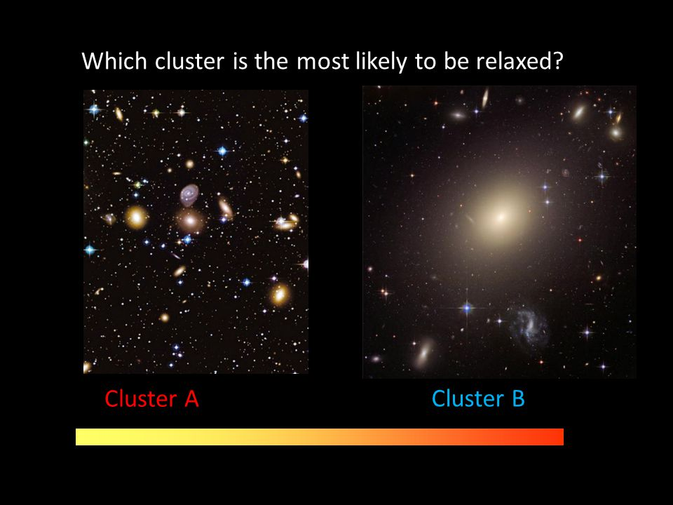 Which cluster is the most likely to be relaxed? Cluster B Cluster A