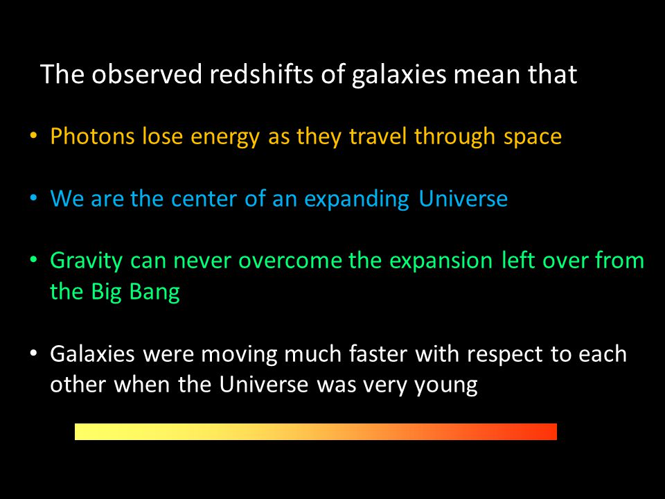 The observed redshifts of galaxies mean that Photons lose energy as they travel through space We are the center of an expanding Universe Gravity can n