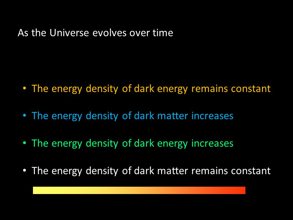 As the Universe evolves over time The energy density of dark energy remains constant The energy density of dark matter increases The energy density of