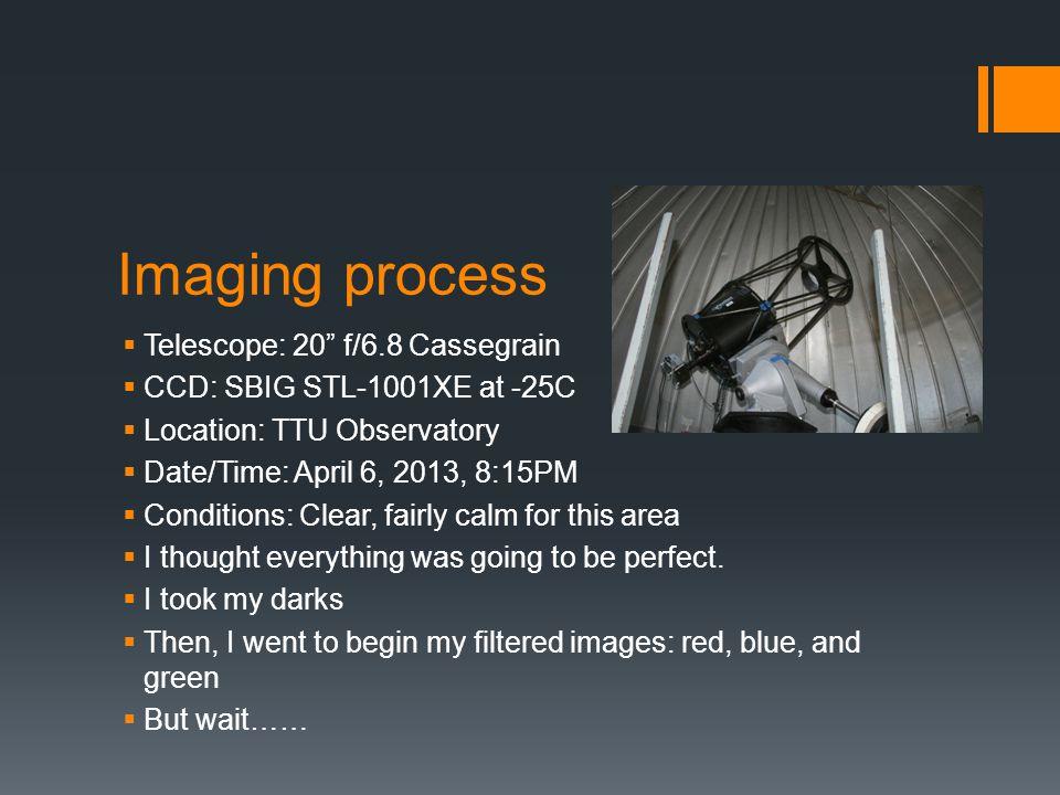 "Imaging process  Telescope: 20"" f/6.8 Cassegrain  CCD: SBIG STL-1001XE at -25C  Location: TTU Observatory  Date/Time: April 6, 2013, 8:15PM  Cond"