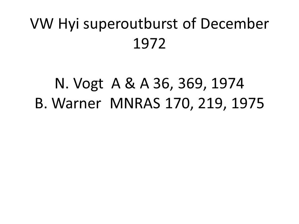 VW Hyi superoutburst of December 1972 N. Vogt A & A 36, 369, 1974 B. Warner MNRAS 170, 219, 1975