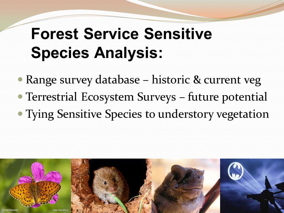 Forest Service Sensitive Species Analysis: Range survey database – historic & current veg Terrestrial Ecosystem Surveys – future potential Tying Sensitive Species to understory vegetation