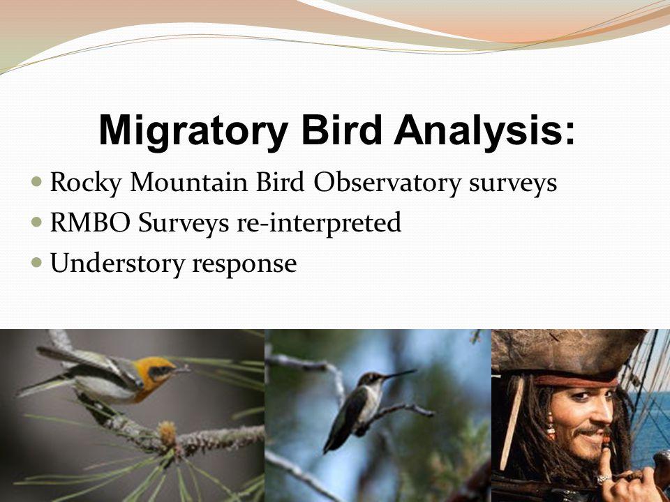 Migratory Bird Analysis: Rocky Mountain Bird Observatory surveys RMBO Surveys re-interpreted Understory response