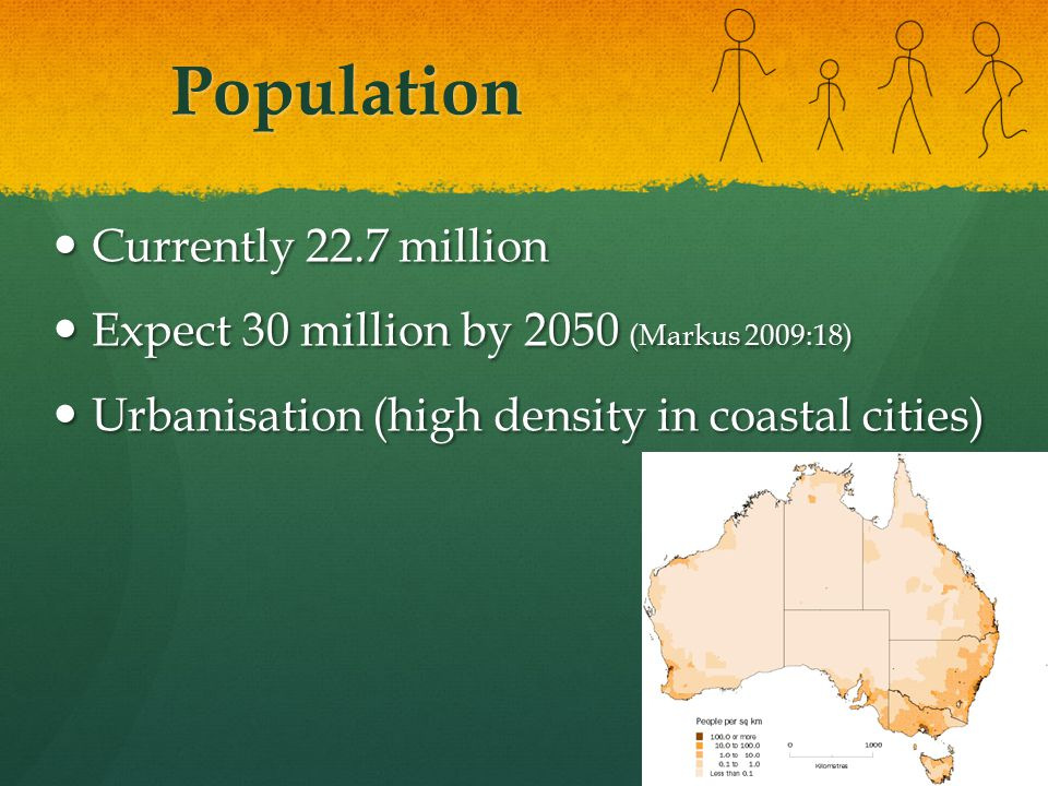 Population Currently 22.7 million Currently 22.7 million Expect 30 million by 2050 (Markus 2009:18) Expect 30 million by 2050 (Markus 2009:18) Urbanisation (high density in coastal cities) Urbanisation (high density in coastal cities)