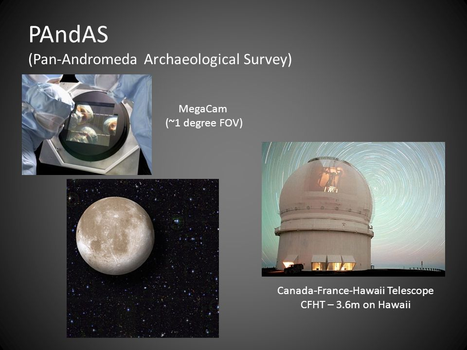 Canada-France-Hawaii Telescope CFHT – 3.6m on Hawaii PAndAS (Pan-Andromeda Archaeological Survey) MegaCam (~1 degree FOV)