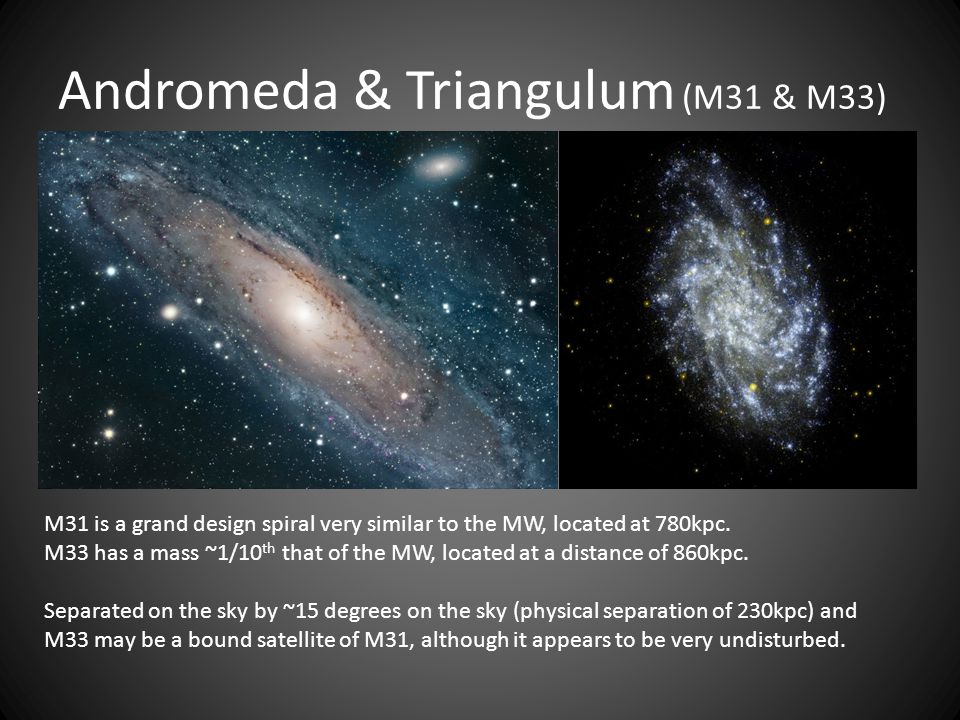 Andromeda & Triangulum (M31 & M33) M31 is a grand design spiral very similar to the MW, located at 780kpc.