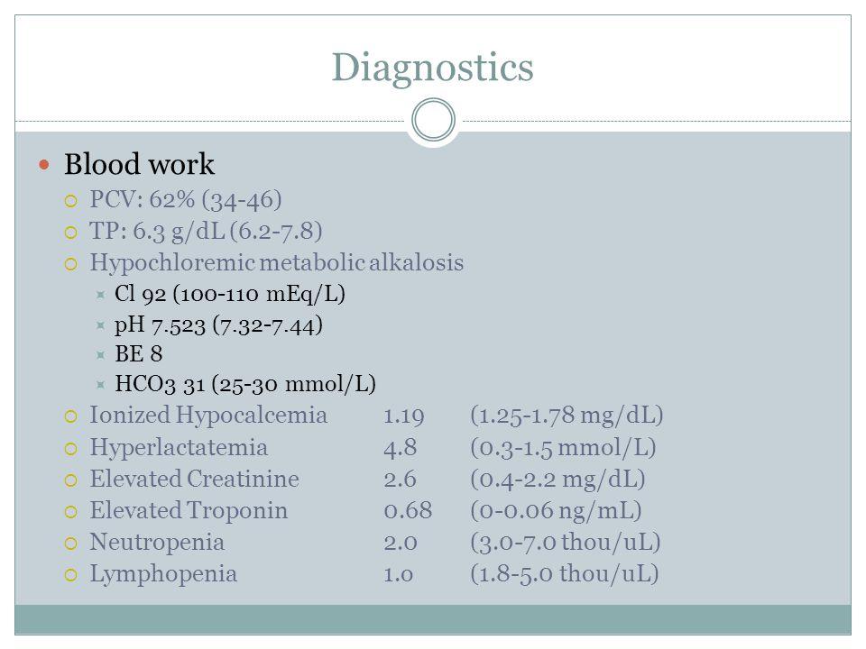Diagnostics Blood work  PCV: 62% (34-46)  TP: 6.3 g/dL (6.2-7.8)  Hypochloremic metabolic alkalosis  Cl 92 (100-110 mEq/L)  pH 7.523 (7.32-7.44)  BE 8  HCO3 31 (25-30 mmol/L)  Ionized Hypocalcemia 1.19 (1.25-1.78 mg/dL)  Hyperlactatemia 4.8 (0.3-1.5 mmol/L)  Elevated Creatinine 2.6 (0.4-2.2 mg/dL)  Elevated Troponin 0.68 (0-0.06 ng/mL)  Neutropenia 2.0 (3.0-7.0 thou/uL)  Lymphopenia 1.o (1.8-5.0 thou/uL)