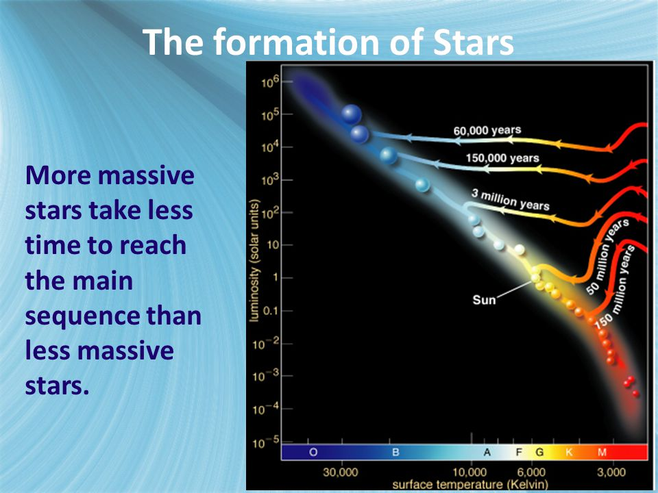 More massive stars take less time to reach the main sequence than less massive stars. The formation of Stars