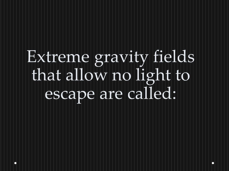 Extreme gravity fields that allow no light to escape are called: