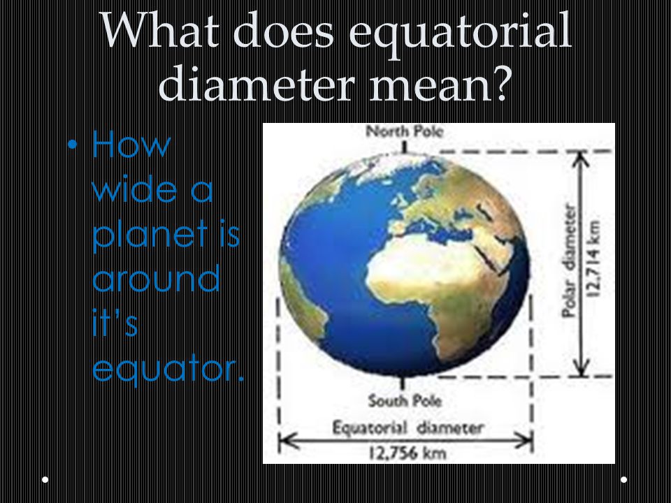 What does equatorial diameter mean? How wide a planet is around it's equator.