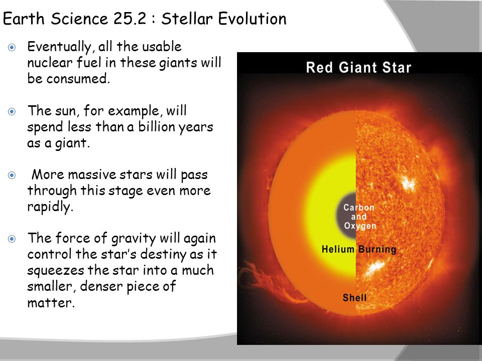 Earth Science 25.2 : Stellar Evolution  Eventually, all the usable nuclear fuel in these giants will be consumed.  The sun, for example, will spend