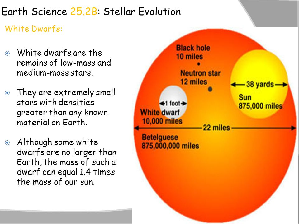 Earth Science 25.2B: Stellar Evolution White Dwarfs:  White dwarfs are the remains of low-mass and medium-mass stars.  They are extremely small star