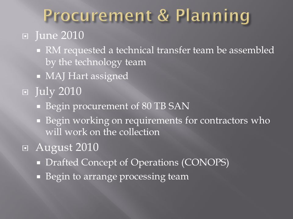  June 2010  RM requested a technical transfer team be assembled by the technology team  MAJ Hart assigned  July 2010  Begin procurement of 80 TB