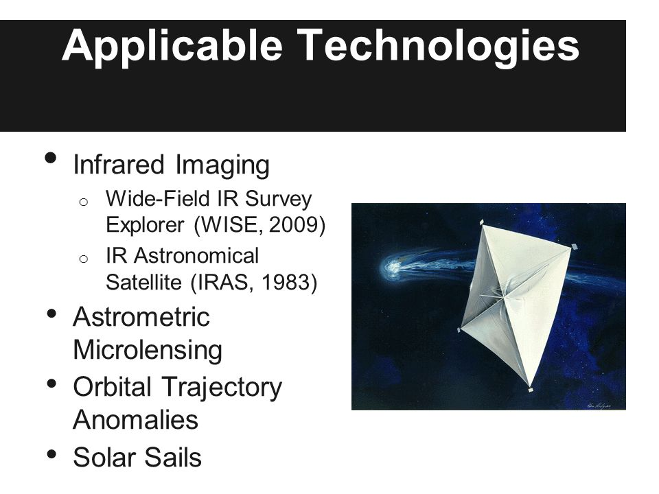 Applicable Technologies Infrared Imaging o Wide-Field IR Survey Explorer (WISE, 2009) o IR Astronomical Satellite (IRAS, 1983) Astrometric Microlensing Orbital Trajectory Anomalies Solar Sails
