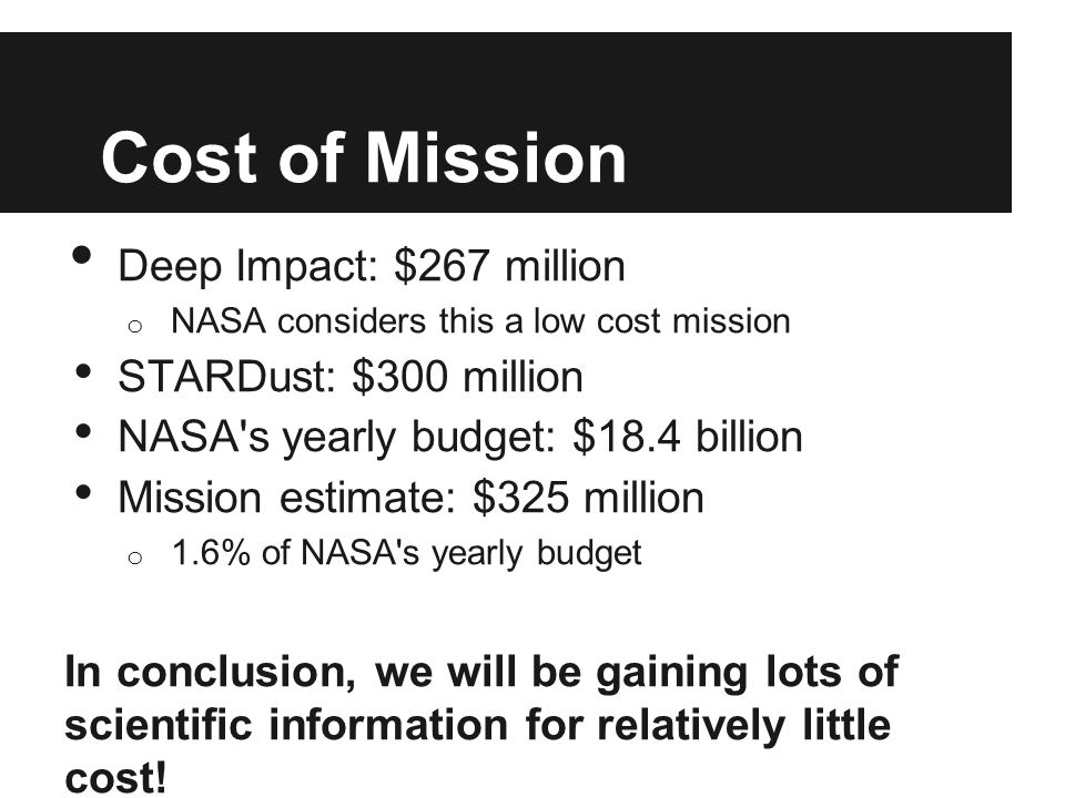 Cost of Mission Deep Impact: $267 million o NASA considers this a low cost mission STARDust: $300 million NASA s yearly budget: $18.4 billion Mission estimate: $325 million o 1.6% of NASA s yearly budget In conclusion, we will be gaining lots of scientific information for relatively little cost!