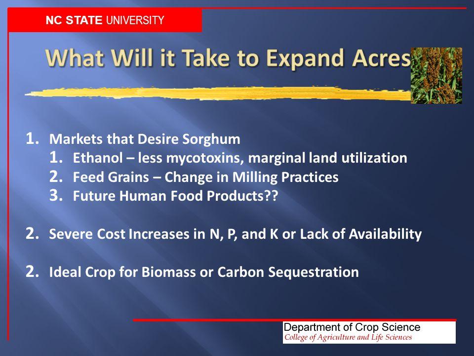 1. Markets that Desire Sorghum 1. Ethanol – less mycotoxins, marginal land utilization 2.