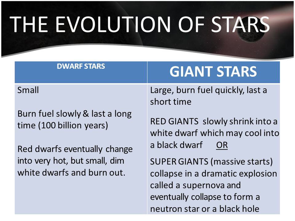 THE EVOLUTION OF STARS DWARF STARS GIANT STARS Small Burn fuel slowly & last a long time (100 billion years) Red dwarfs eventually change into very ho