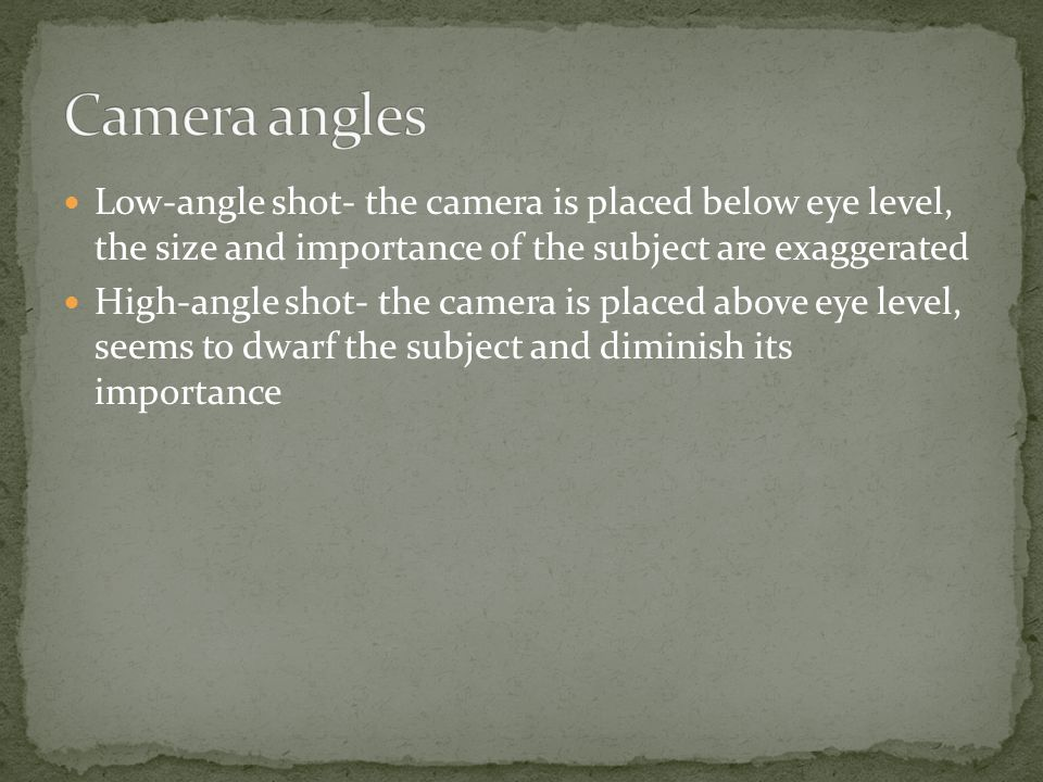 Wide-angle lens- exaggerates the perspective so that the distance between an object in the foreground and one in the background seems much greater than it actually is Telephoto lens- compresses depth so that the distance between foreground and background objects seems less than it actually is Fish-eye lens- bends both horizontal and vertical planes and distorts depth relationships