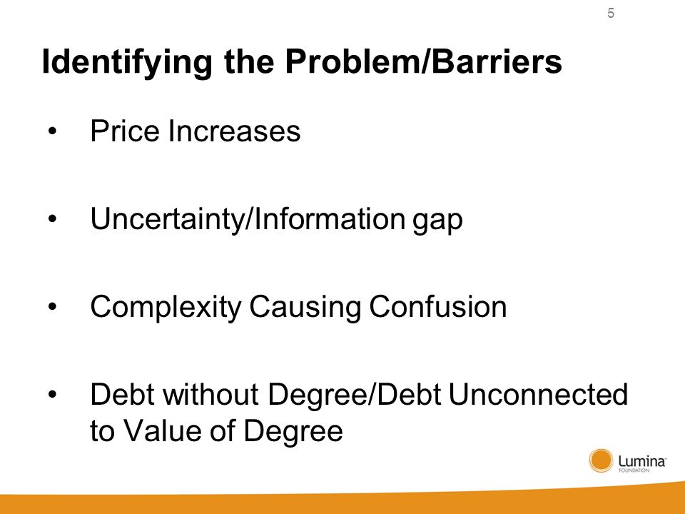 Identifying the Problem/Barriers Price Increases Uncertainty/Information gap Complexity Causing Confusion Debt without Degree/Debt Unconnected to Value of Degree 5