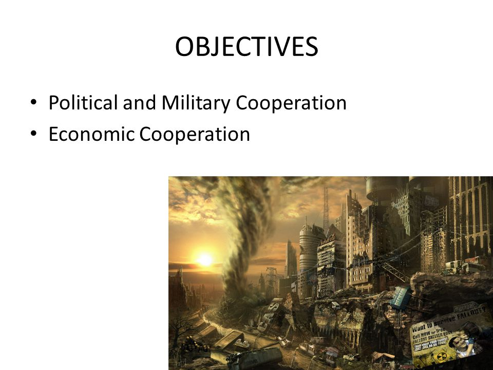 OBJECTIVES Political and Military Cooperation Economic Cooperation