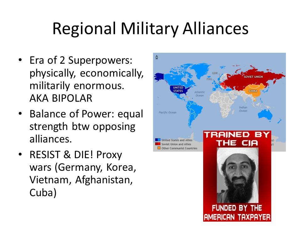 Regional Military Alliances Era of 2 Superpowers: physically, economically, militarily enormous.