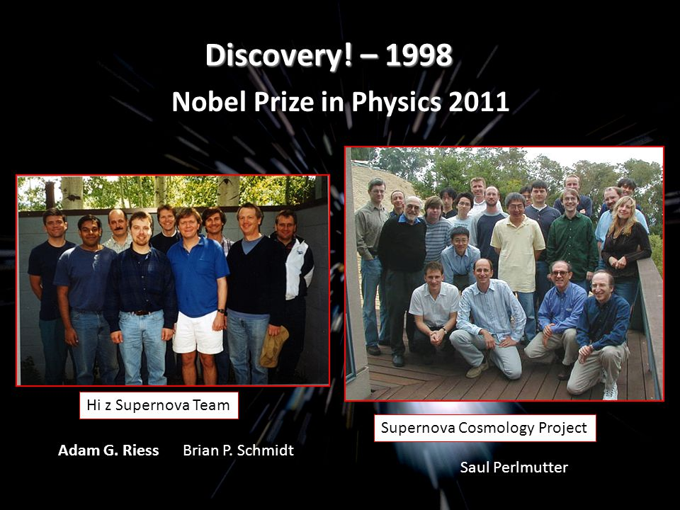 Discovery! – 1998 Hi z Supernova Team Supernova Cosmology Project Brian P. Schmidt Saul Perlmutter Adam G. Riess Nobel Prize in Physics 2011