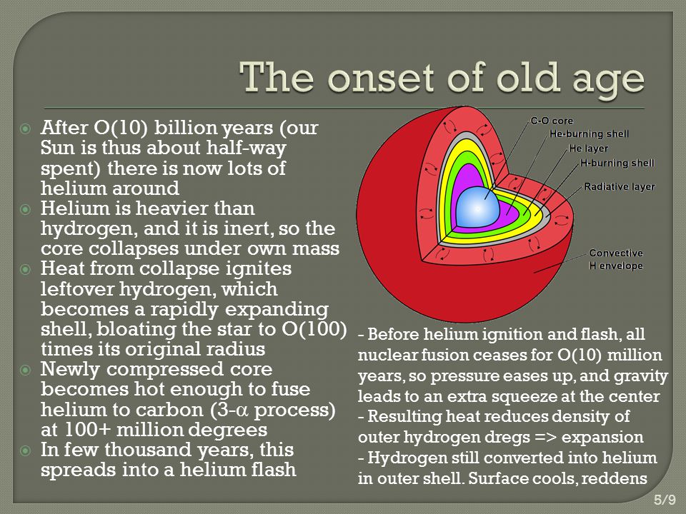  After O(10) billion years (our Sun is thus about half-way spent) there is now lots of helium around  Helium is heavier than hydrogen, and it is inert, so the core collapses under own mass  Heat from collapse ignites leftover hydrogen, which becomes a rapidly expanding shell, bloating the star to O(100) times its original radius  Newly compressed core becomes hot enough to fuse helium to carbon (3-  process) at 100+ million degrees  In few thousand years, this spreads into a helium flash - Before helium ignition and flash, all nuclear fusion ceases for O(10) million years, so pressure eases up, and gravity leads to an extra squeeze at the center - Resulting heat reduces density of outer hydrogen dregs => expansion - Hydrogen still converted into helium in outer shell.