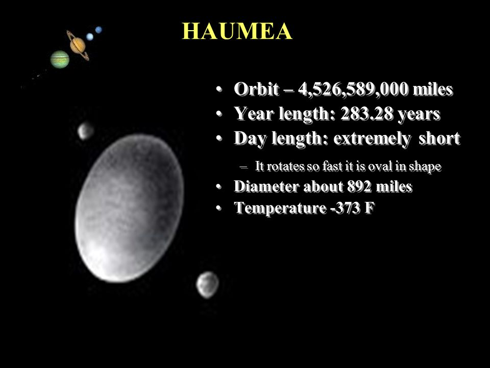 16 Pacific Island Names for Planetary Objects Haumea is the Hawaiian goddess of childbirth and fertility. The the moons