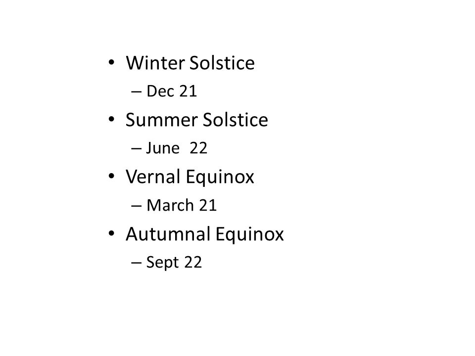 Winter Solstice – Dec 21 Summer Solstice – June 22 Vernal Equinox – March 21 Autumnal Equinox – Sept 22