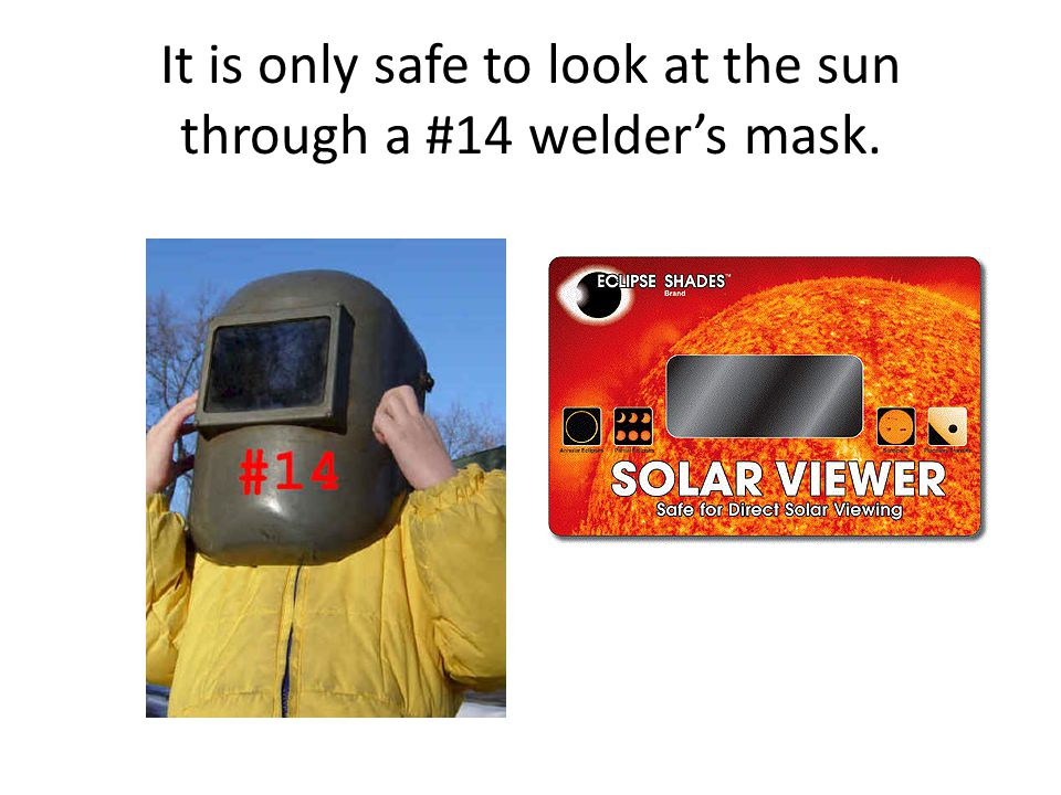It is only safe to look at the sun through a #14 welder's mask.